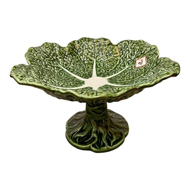 Portuguese Majolica Lettuce Figure Compote Pedestal Bowl For Sale