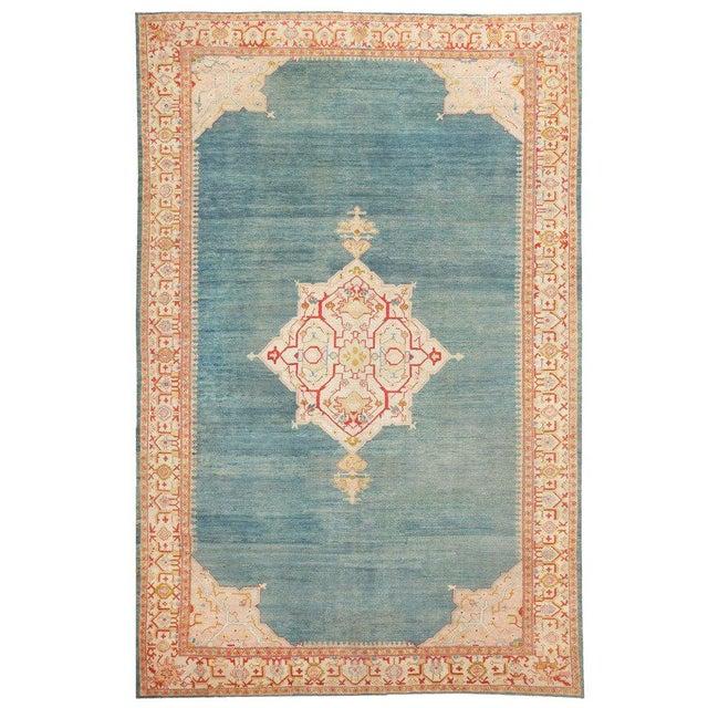 Textile Antique Turkish Oushak Light Blue Rug - 10′7″ × 16′8″ For Sale - Image 7 of 7