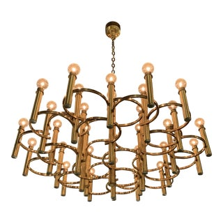 Mid-Century Scolari Brass 30 Light Chandelier For Sale