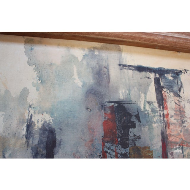 Frank Edwin Larson Abstract Oil and Gouache on Canvas For Sale - Image 4 of 9