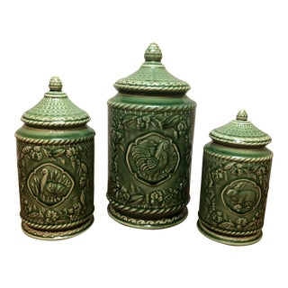 Vintage French Country Jay Willfred for Andrea by Sadek Canisters - Set of 3