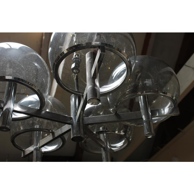 Chrome Gaetano Sciolari Chrome & Smoked Glass Five-Arm Chandelier For Sale - Image 7 of 7