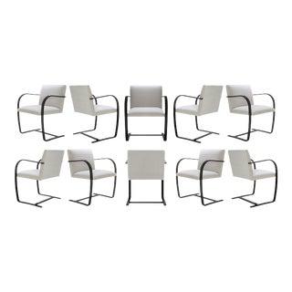Brno Flat-Bar Chairs in Dove Velvet, Obsidian Gloss Frame, Set of Ten For Sale