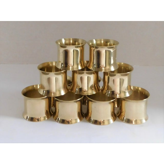 Solid Brass Vintage Napkin Rings - Set of 12 For Sale - Image 4 of 13