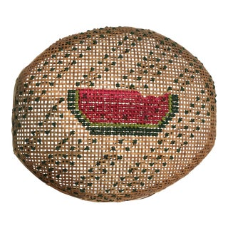 Vintage Watermelon Embroidered Basket