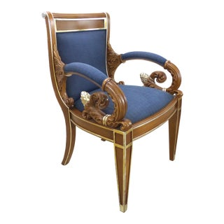 Gianni Versace Vanitas Carved Armchair W/ Scrolling Arm & Gilt Details For Sale