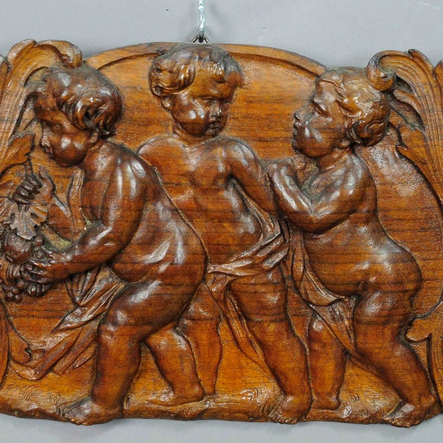 Black Forest Victorian Wall Plaque With Cherubs, Handcarved Circa 1920 For Sale - Image 3 of 5