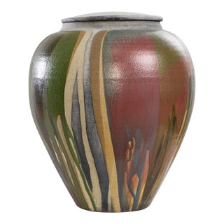 Multi-Colored Early 1980s Raku Lidded Jar by John Eckert For Sale