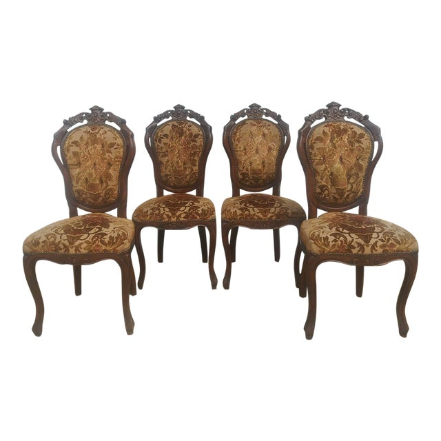 Vintage Victorian Style Cut Velvet Dining Chairs Set Of 4 Chairish