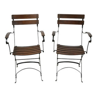 Wrought Iron Wood Slat Cafe Bistro Steam Ship Deck Folding Arm Chairs - a Pair For Sale