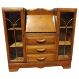 Image of 20th Century English Traditional Oak Drop Front Secretary With Side by Side Display Cabinets For Sale