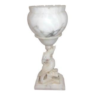 Vintage Hand Carved Alabaster Cockatoo Lamp For Sale