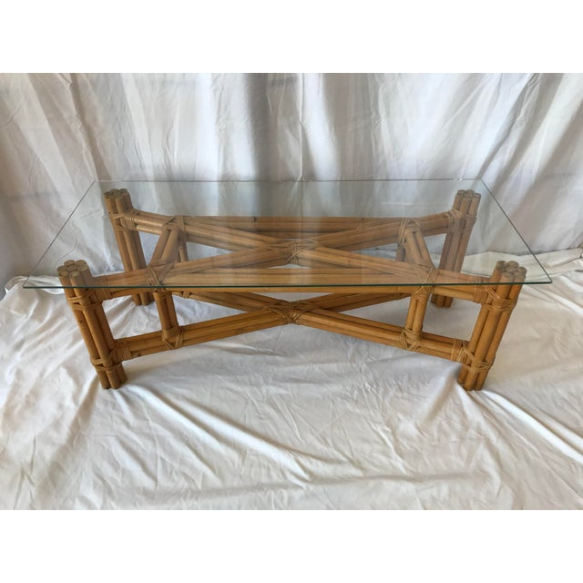 Boho Chic X Design Rattan Coffee Table For Sale - Image 9 of 9