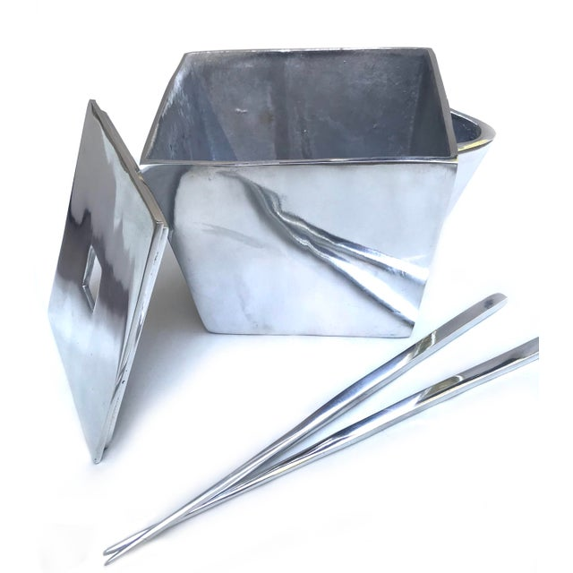 Lunares San Francisco Cast Aluminum Chinese Take-Out Lidded Box With Chopsticks For Sale - Image 4 of 6