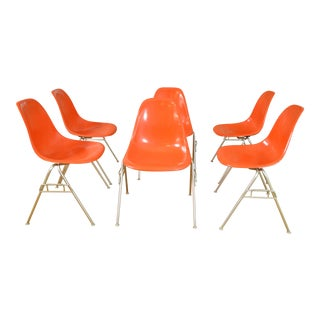 Eames for Herman Miller Orange Shell Stackers - Set of 6 For Sale