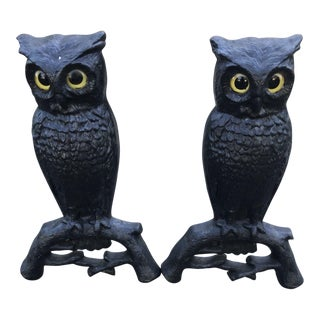 Antique Iron Owl Andirons - A Pair