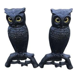 Antique Iron Owl Andirons - A Pair