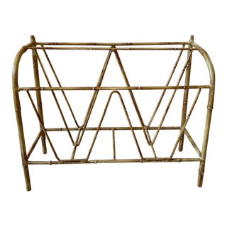 Mid Century Hollywood Regency Faux Bamboo Magazine Rack For Sale
