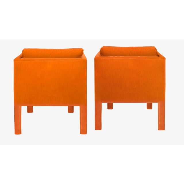 Exceptional pair of 1970's Parson Style Lounge Chairs attributed to Milo Baughman, newly upholstered in a 100% cotton,...