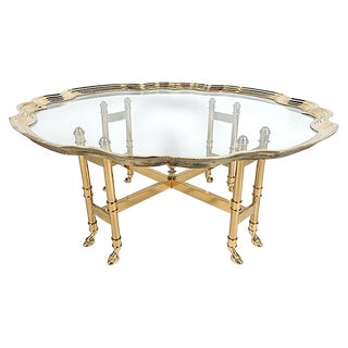 La Barge Hoofed Brass and Glass Coffee Table For Sale