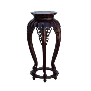 Chinese Red Brown Mahogany Round Curved Legs Plant Stand For Sale