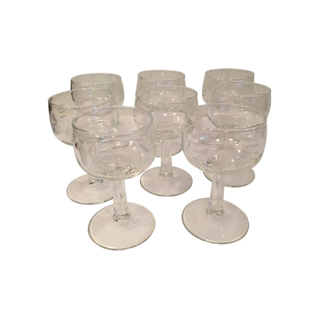 Mid-Century Etched White Wine Stems - Set of 8 - Image 1 of 6