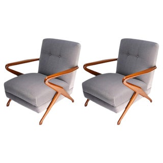 Gray Mohair Upholstered Carlo De Carli Armchairs - a Pair For Sale