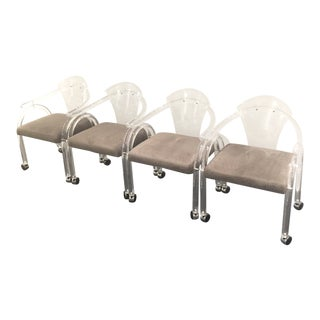 Lucite Rolling Arm Chair by Charles Hollis Jones - Set of 4 For Sale