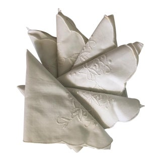 Vintage Linen Embroidered Cocktail Napkin - Set of 6 For Sale