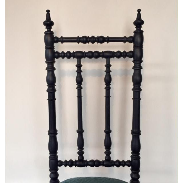 19th Century Napoleon III Era French Black and Aquamarine Chimney Chair For Sale - Image 9 of 11