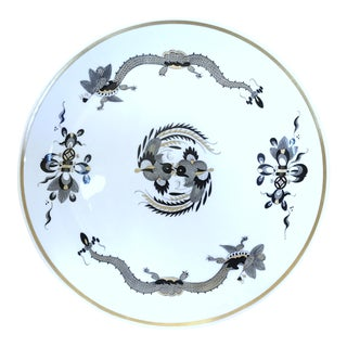 "Meissen German Black Dragon Red Dot Accent Crossed Swords 10"" Dinner Plate"