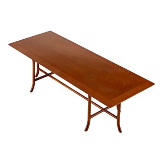 1950s Mid-Century Modern Sabre Leg Walnut Coffee Table Designed by T. H. Robsjohn Gibbings For Sale