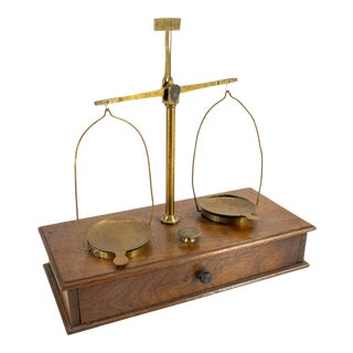 Decorative Antique 19th Century Brass and Wood Balance Scale For Sale
