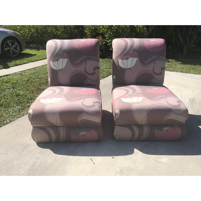 Pair of vintage Jack Lenor Larsen style club chair circa 1980's. Some wear in the base ( pictured). 2 pillows included.