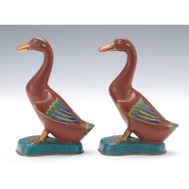 Asian Chinese Cloisonné Ducks - A Pair For Sale - Image 3 of 6