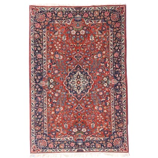 """1920s Antique Kashan Persian Rug-4'4"""" X 6'10"""" For Sale"""