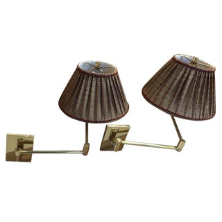 Vintage Hansen Brass Swing Arm Wall Lamps - A Pair For Sale