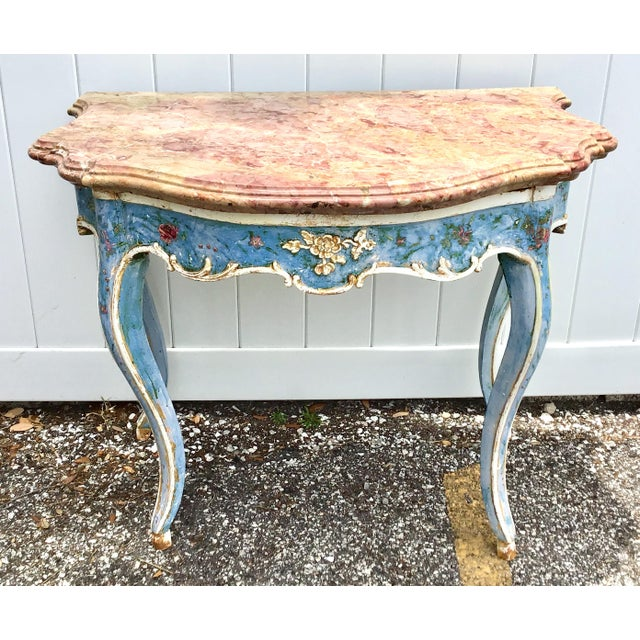Venetian Painted Marble Top Console Table For Sale - Image 12 of 12