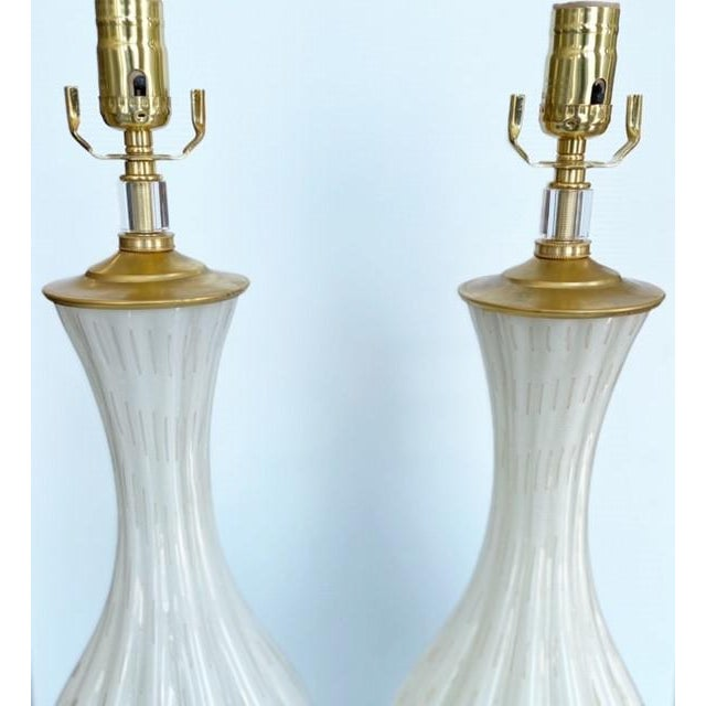 Vintage Gold and White Barbini Murano Lamp Vintage - a Pair For Sale In Dallas - Image 6 of 9