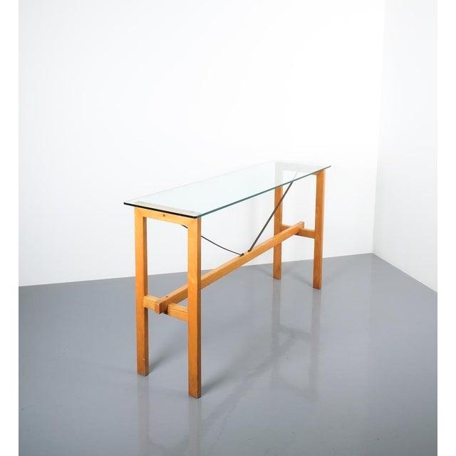 Zanotta Superstudio Console Table Wood and Glass Zanotta, Italy, Circa 1980 For Sale - Image 4 of 9