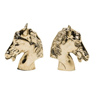 Silver Horse Bookends- A Pair For Sale