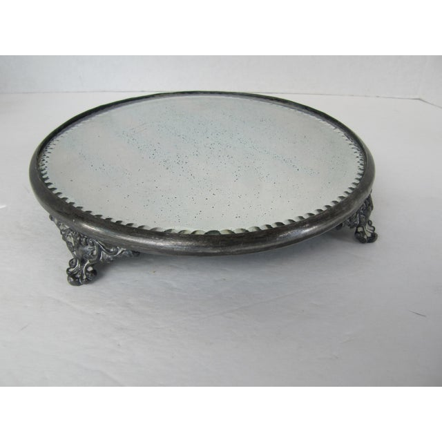 Glass Vintage Silver-Plate and Mirror Tray For Sale - Image 7 of 7