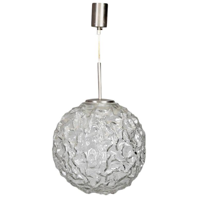 Mid Century Molded And Textured Glass Globe Pendant Light