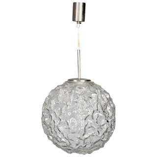 Mid-Century Molded and Textured Glass Globe Pendant Light For Sale