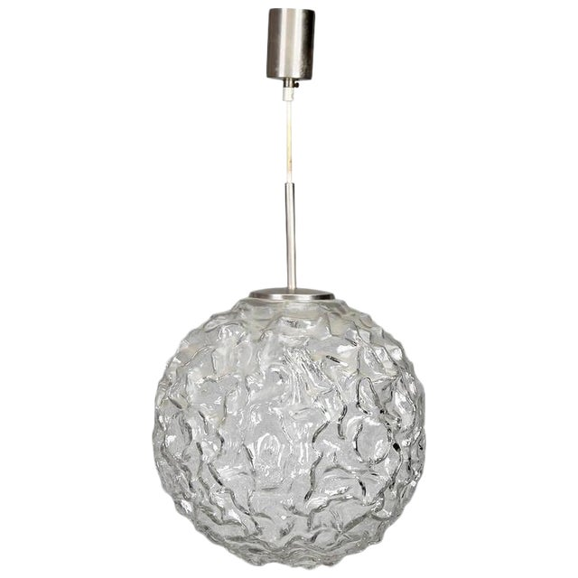 Mid-Century Molded and Textured Glass Globe Pendant Light ...