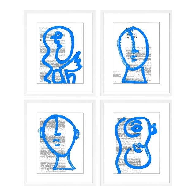 Blue Portraits 4pc Set by Virginia Chamlee in White Frame, Small Art Print For Sale