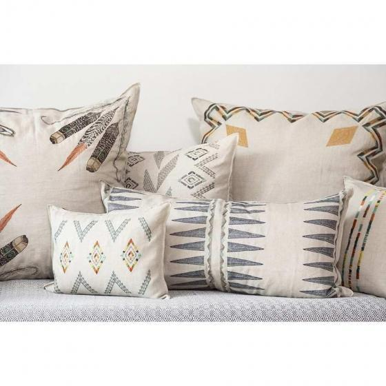 Boho Chic Navy Quill Lumbar Pillow For Sale - Image 3 of 4