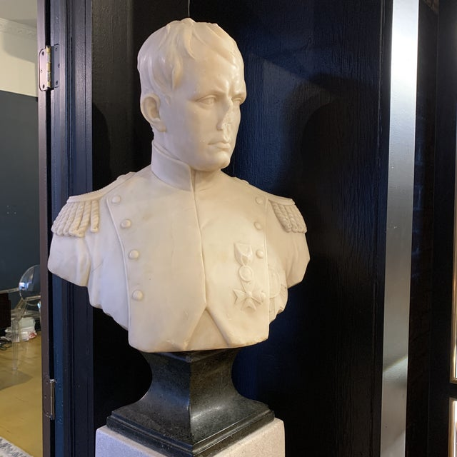 Beautiful Napoleon Bust in Marble and Granite. Amazing details and striking military pose and outfit. There is damage due...