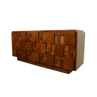 1970s Vintage Walnut Brutalist Dresser For Sale