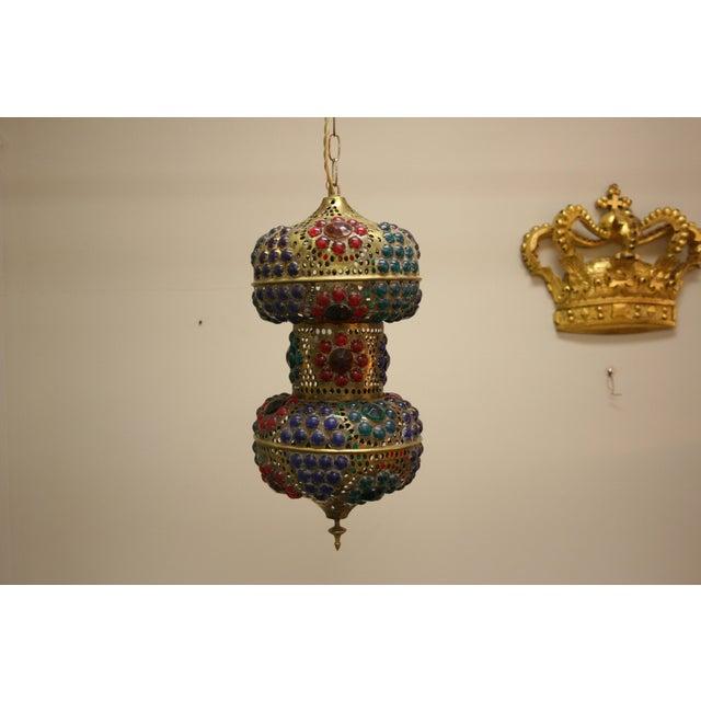Vintage 1970s Turkish Brass Multicolor Lantern For Sale - Image 4 of 9